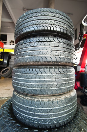 stacked up: Tires used stacked up