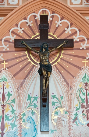 immaculate: Bronze sculpture of the crucifixion of Jesus Christ in The Roman Catholic Church at Chanthaburi Province, Thailand. (The Cathedral of the Immaculate Conception)