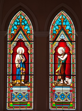 roman catholic: Painted Glasses of Saints in The Roman Catholic Church at Chanthaburi Province, Thailand. (The Cathedral of the Immaculate Conception)
