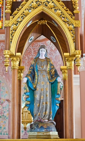 Virgin Mary Statue in Roman Catholic Church at Chanthaburi Province, Thailand. (The Cathedral of the Immaculate Conception)