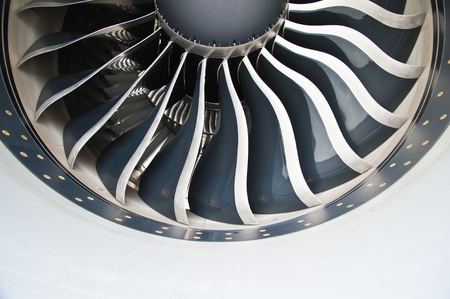 Turbine Blades of An Aircraft Jet Engine  Stock Photo