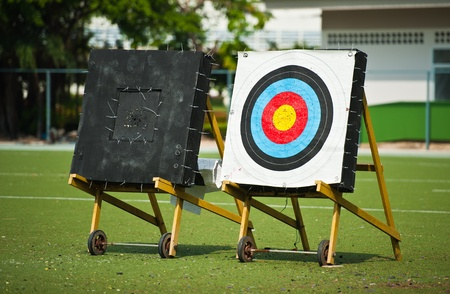 Three Archery Targets with Arrow in A Field Stock Photo - 10738823