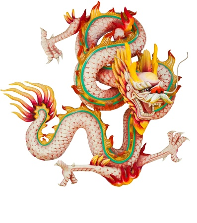 chinese dragon: Pink dragon isolated on white background