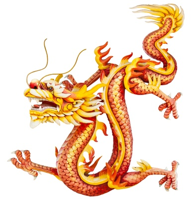 chinese dragon: Dragon rouge isol� sur fond blanc Banque d'images