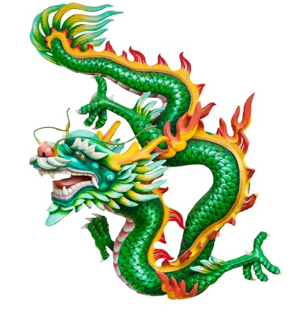 dragon rouge: Dragon vert isol� sur fond blanc