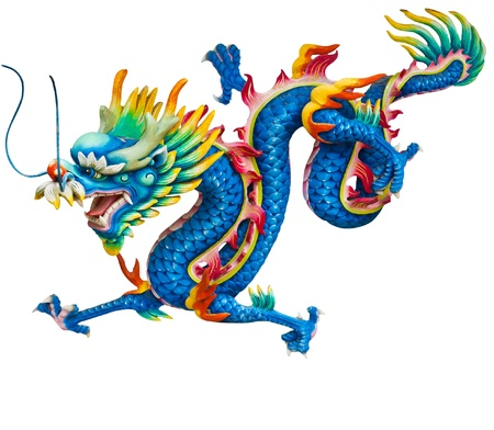 Blue dragon isolated on white background
