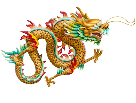 dragones: Drag�n dorado aislada sobre fondo blanco