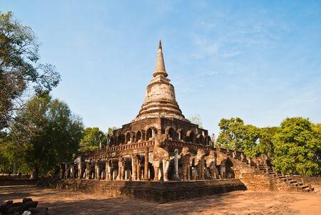 Pagoda in Wat Chang Lom at Si Satchanalai Historical Park, Sukhothai, Thailand  photo