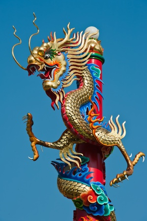 Dragon in chinese temple with blue sky  photo