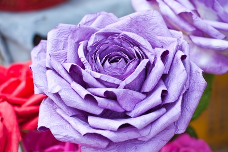 purple rose made of paper  photo