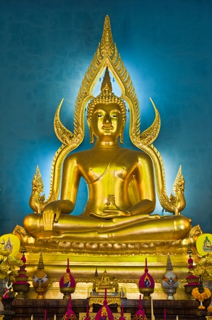 awakened: Buddha at main altar of Wat Benjamobopith, Bangkok, Thailand  Stock Photo