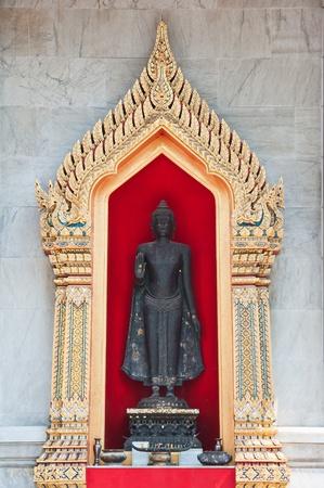 thai believe:  Black Buddha  Stock Photo
