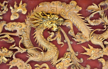 Golden Chinese Dragon on Red Background Stock Photo - 11107210