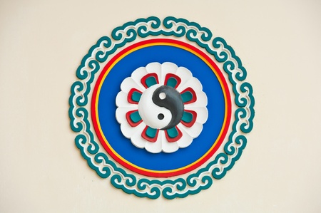 ying yang:  yin yang symbol in chinese temple  Stock Photo