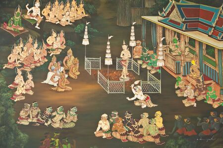 ramayana: masterpiece of traditional Thai style painting art old about Ramayana story on temple wall,Thailand