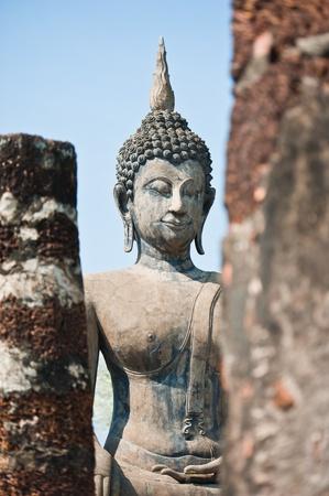 Buddha images in Wat Mahathat at Sukhothai Historical Park, Thailand  photo