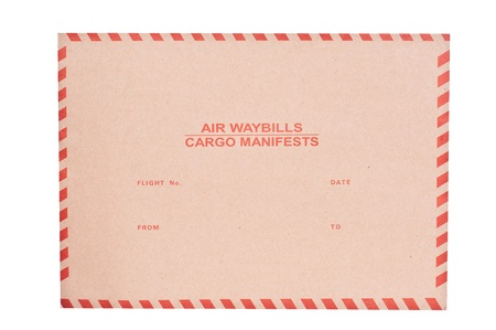 Brown envelope for air waybills cargo manifests isolated on white photo