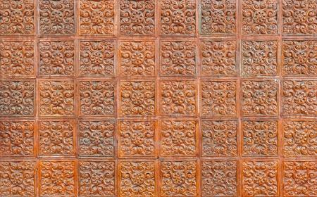 scuffed: Brown ceramic tiles texture