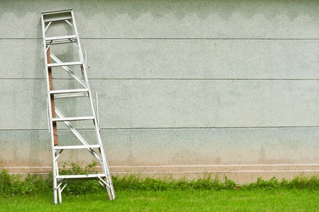 chink: Ladder against wall with grass