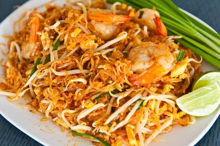 thailand fruit: Thai food Pad thai , Stir fry noodles with shrimp Stock Photo