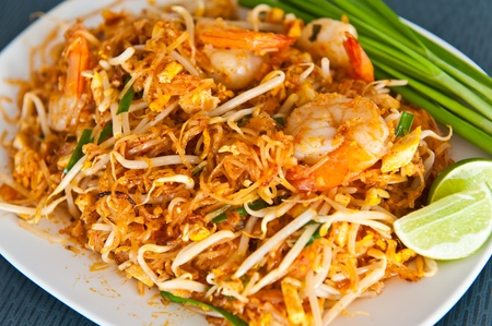 Thai food Pad thai , Stir fry noodles with shrimp Stock Photo