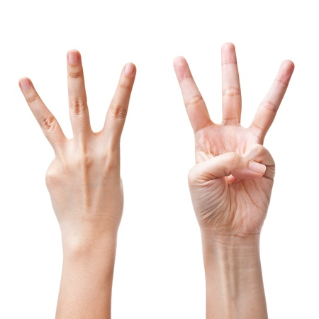 Female hands counting number three Stock Photo - 11198494