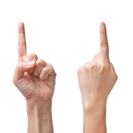 dedo indice: Mujeres manos contando el número uno Foto de archivo
