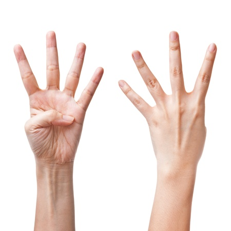 four hands: Female hands counting number four Stock Photo