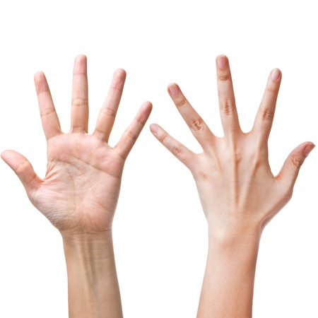 Female hands counting number five photo