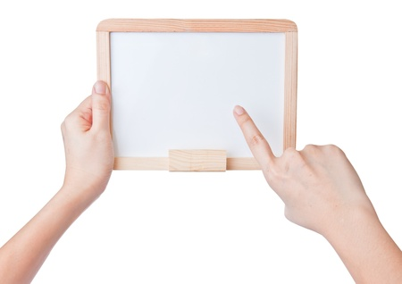 Hands holding and point on small whiteboard on white background photo