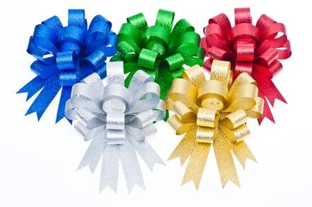 colorful ribbon bow isolated on white background photo
