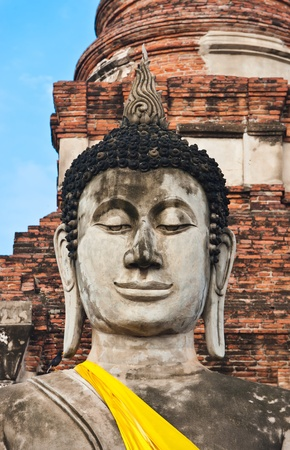 Buddha Status at Wat Yai Chaimongkol, Ayutthaya, Thailand photo
