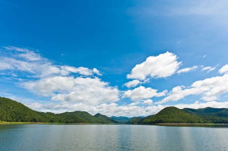 Mountain landscape with lake and sky photo