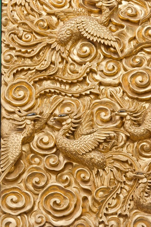 chinese phoenix: Golden Phoenix in the chinese temple