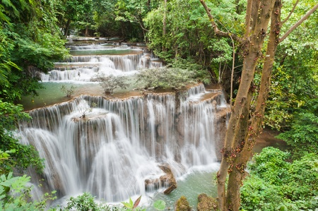 Fourth level waterfall at Huay mae Kamin, Kanchanaburi, Thailand photo