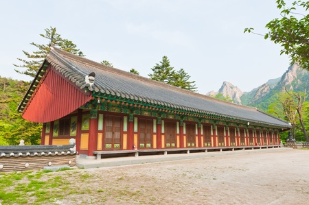 The building of Buddhist Sinheungsa Temple in Seoraksan National Park, South korea photo