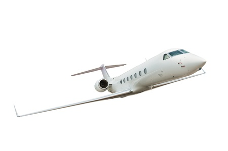 corporate jet: Airplane isolated on white background Stock Photo
