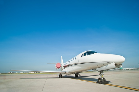 business plane parked at the airport Stock Photo