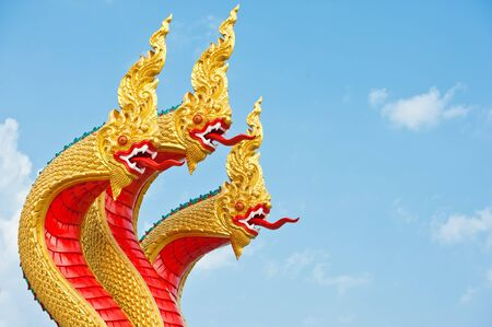 naga china: Thai dragon or king of Naga statue with three heads