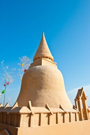 sand art: Sand Pagoda on Bangsaen Beach at Songkran Festivals, Chonburi, Thailand