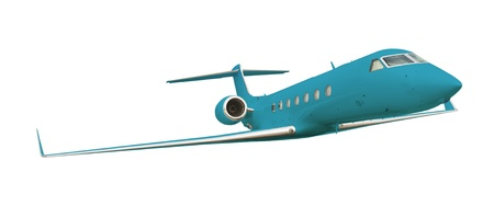 Blue airplane isolated on white with clipping path  photo