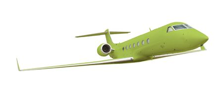 Green airplane isolated on white with clipping path  photo