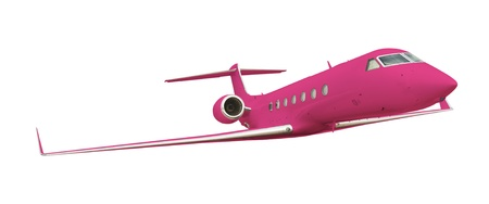 Pink airplane isolated on white with clipping path  photo