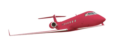 Red airplane isolated on white with clipping path  photo