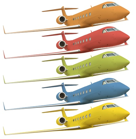 five colorful airplanes isolated on white with clipping path