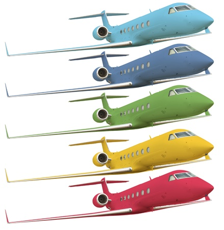 corporate jet: five colorful airplanes isolated on white with clipping path