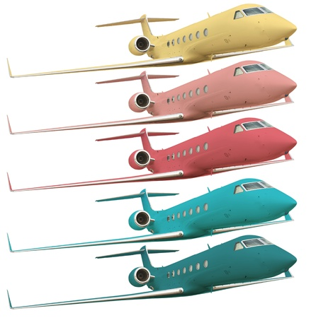 five colorful airplanes isolated on white with clipping path  Stock Photo - 11743876