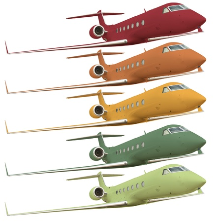 Five colorful airplanes isolated on white with clipping path  photo