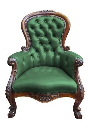 old sofa: vintage green leather armchair on white with clipping path
