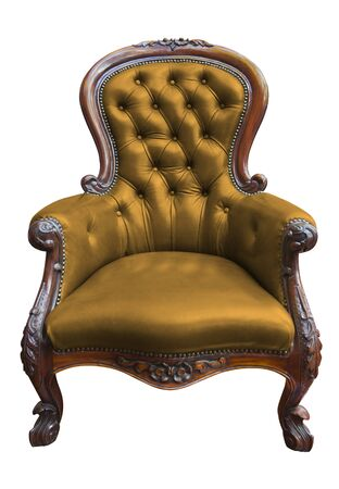 antique chair: vintage yellow leather armchair on white with clipping path  Stock Photo